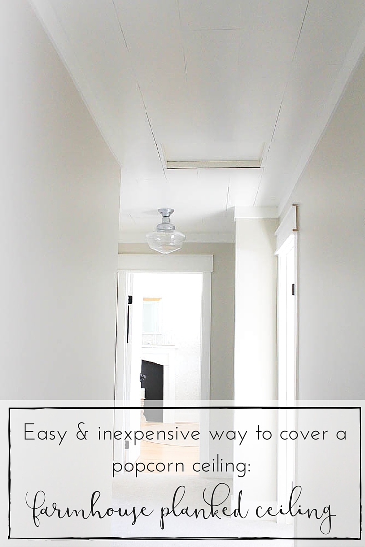 This farmhouse style planked ceiling tutorial is such a simple and inexpensive way to cover a popcorn ceiling and bring so much charm and character to any space!