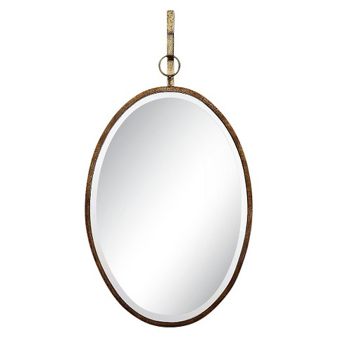 Oval Mirror with Metal Trim