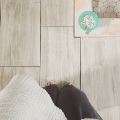 One Room Challenge {Week Four}: Our Farmhouse Style Bathroom has Floors my Friends!