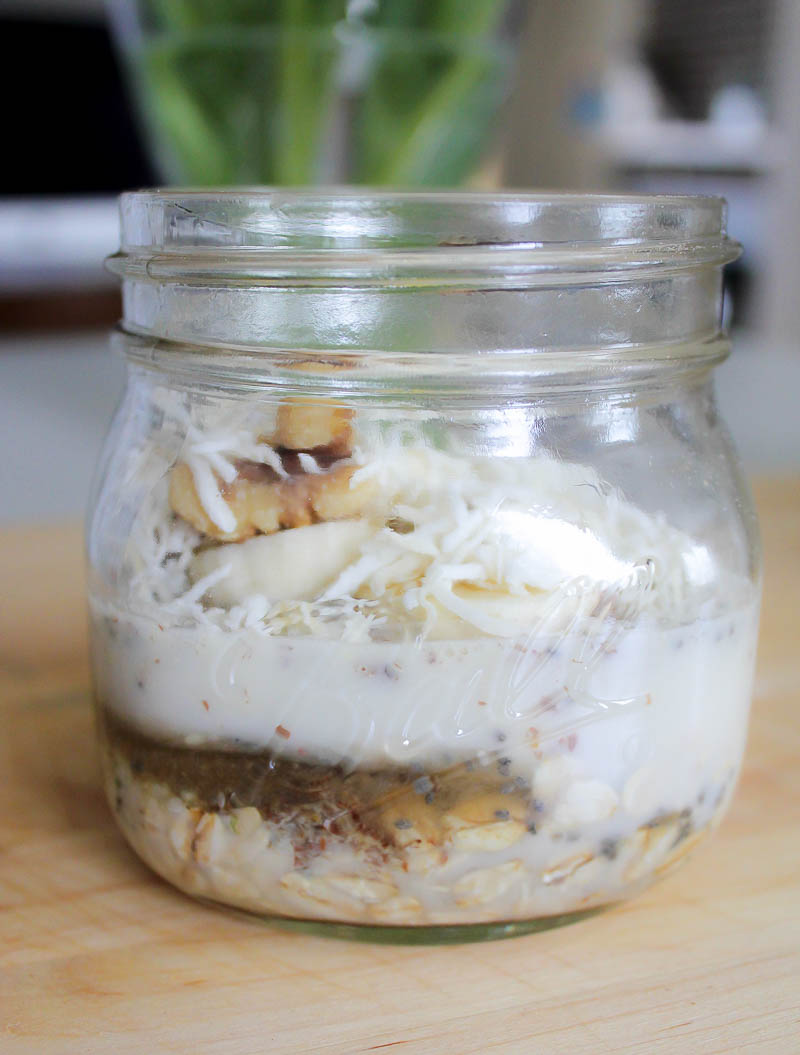 Banana Coconut Oatmeal - topped with sliced bananas, walnuts and coconut.
