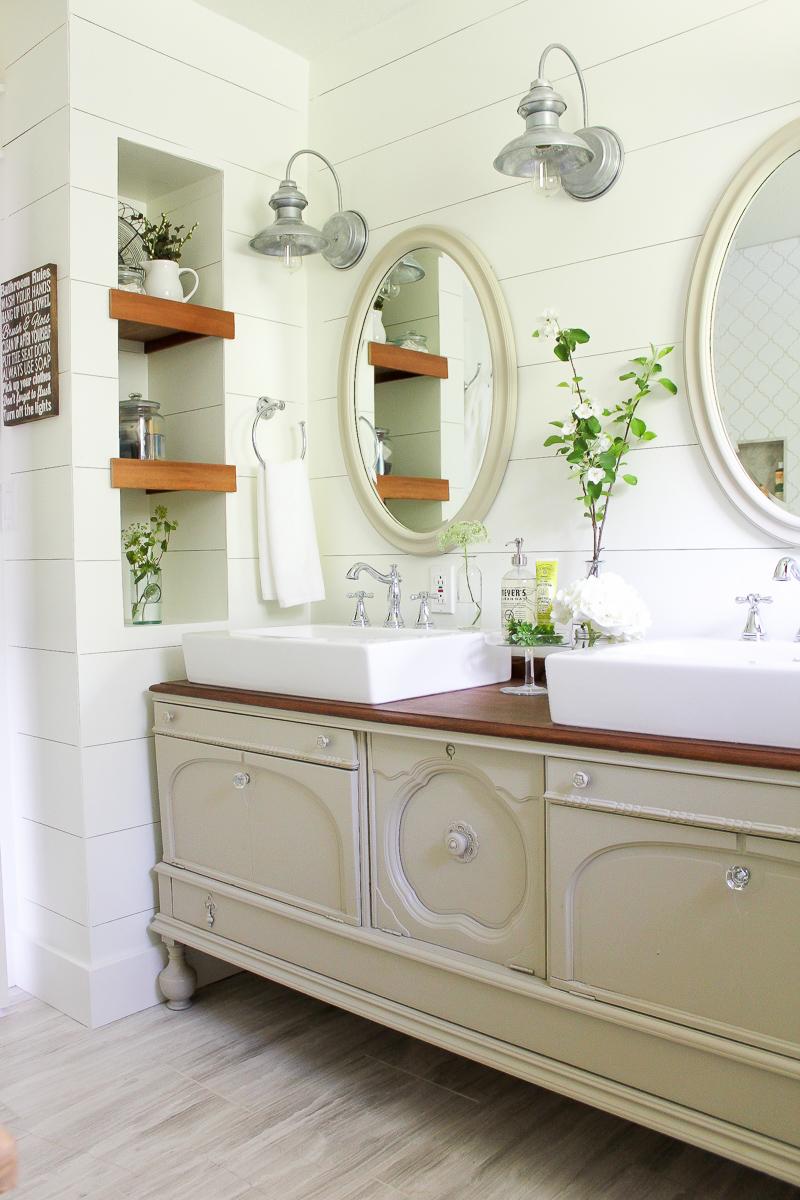 15 Farmhouse Style Bathrooms full of Rustic Charm - Making ... on Rustic Farmhouse Farmhouse Bathroom  id=85476