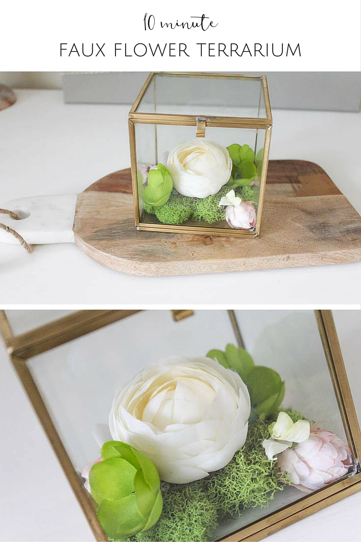 Whip up this gorgeous faux flower box terrarium in just ten minutes!