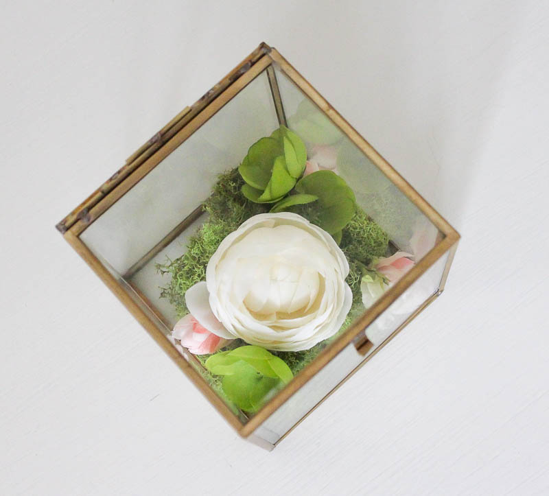 Simple & Pretty Faux Flower Box Terrarium