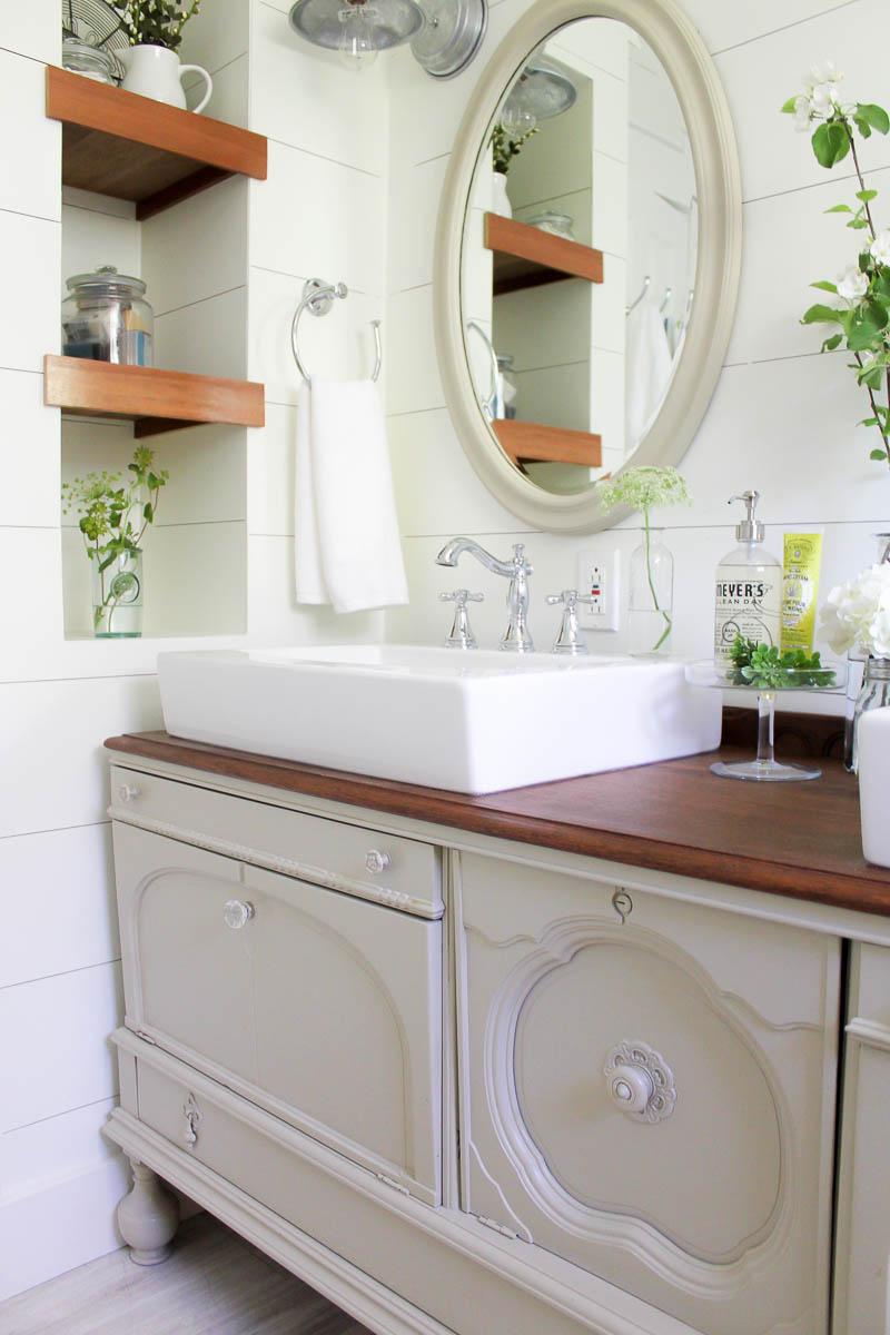 How to Transform a Vintage Buffet into a DIY Bathroom Vanity | www.makingitinthemountains.com
