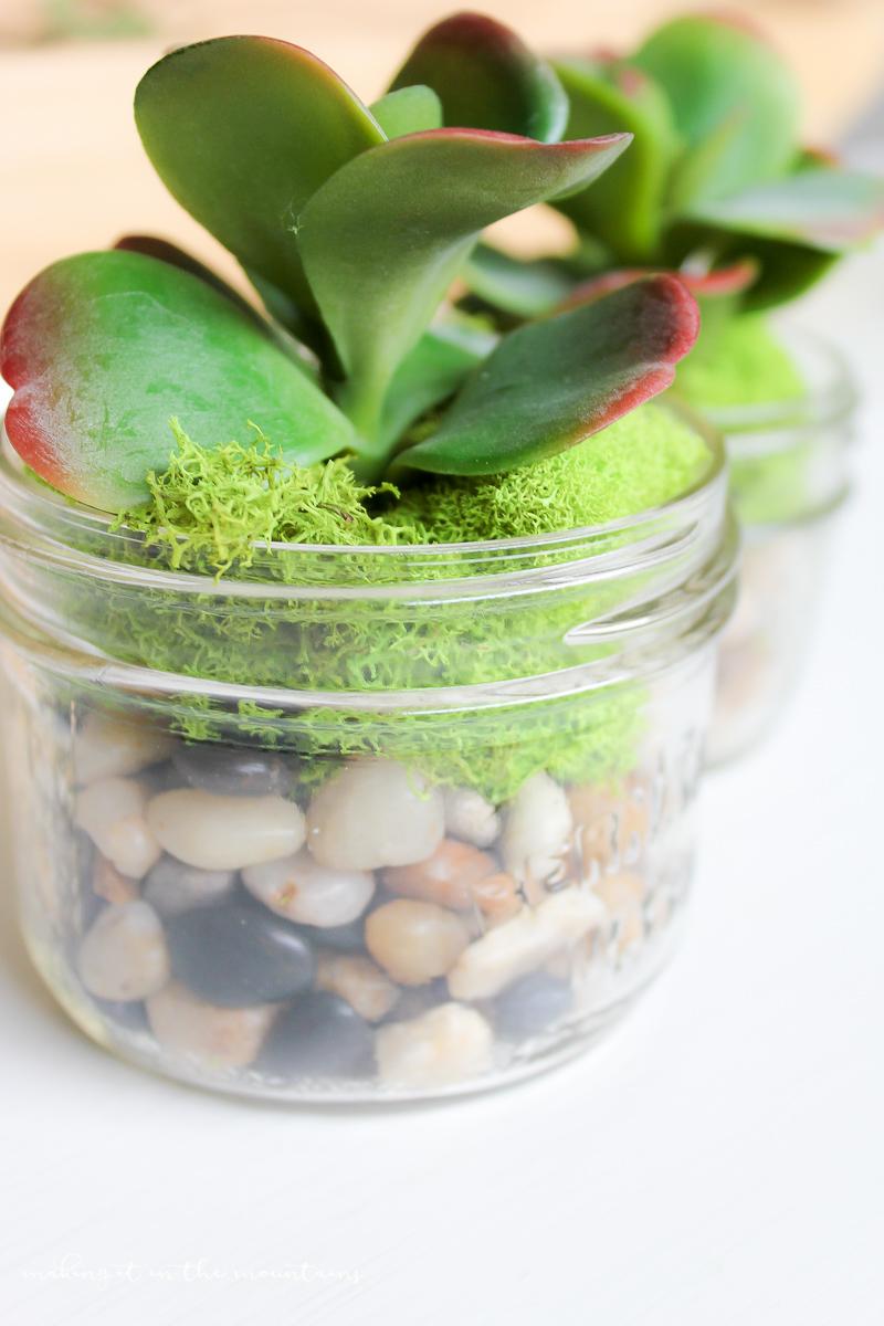 10 Minute Faux Mason Jar Succulent Planter | www.makingitinthemountains.com