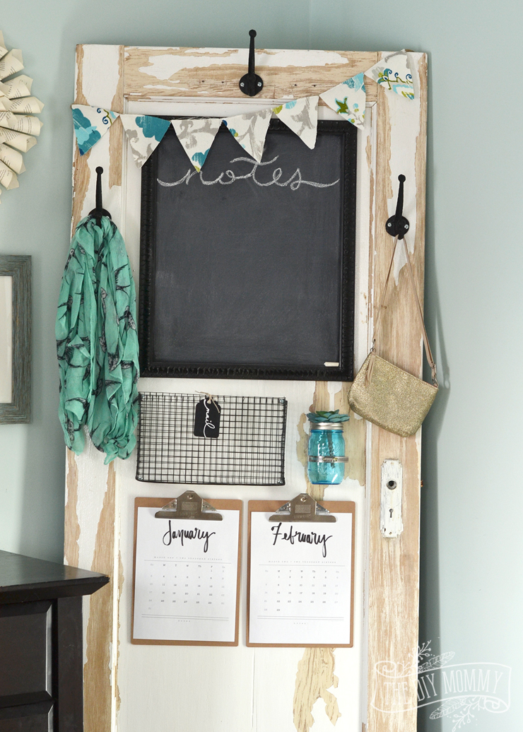 Vintage Door Chalkboard Message Centre