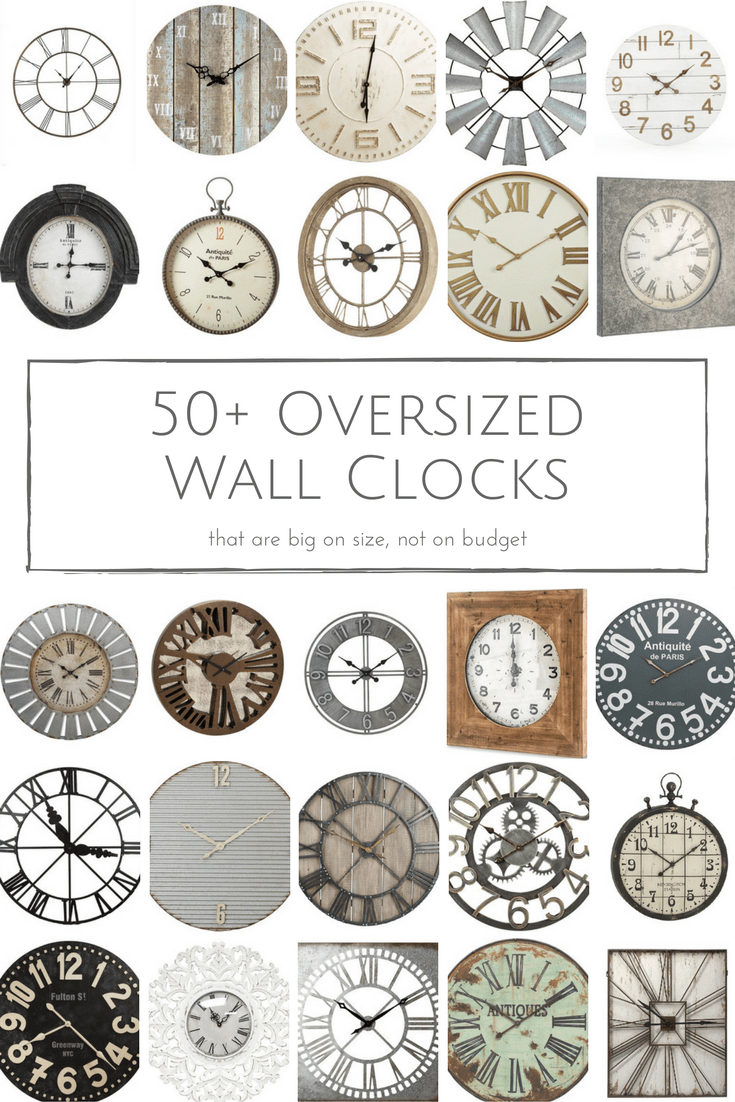 An oversized wall clock is an easy way to make a statement in any space! Here are 50+ of my favourite rustic wall clocks that are big on size, but small on budget.
