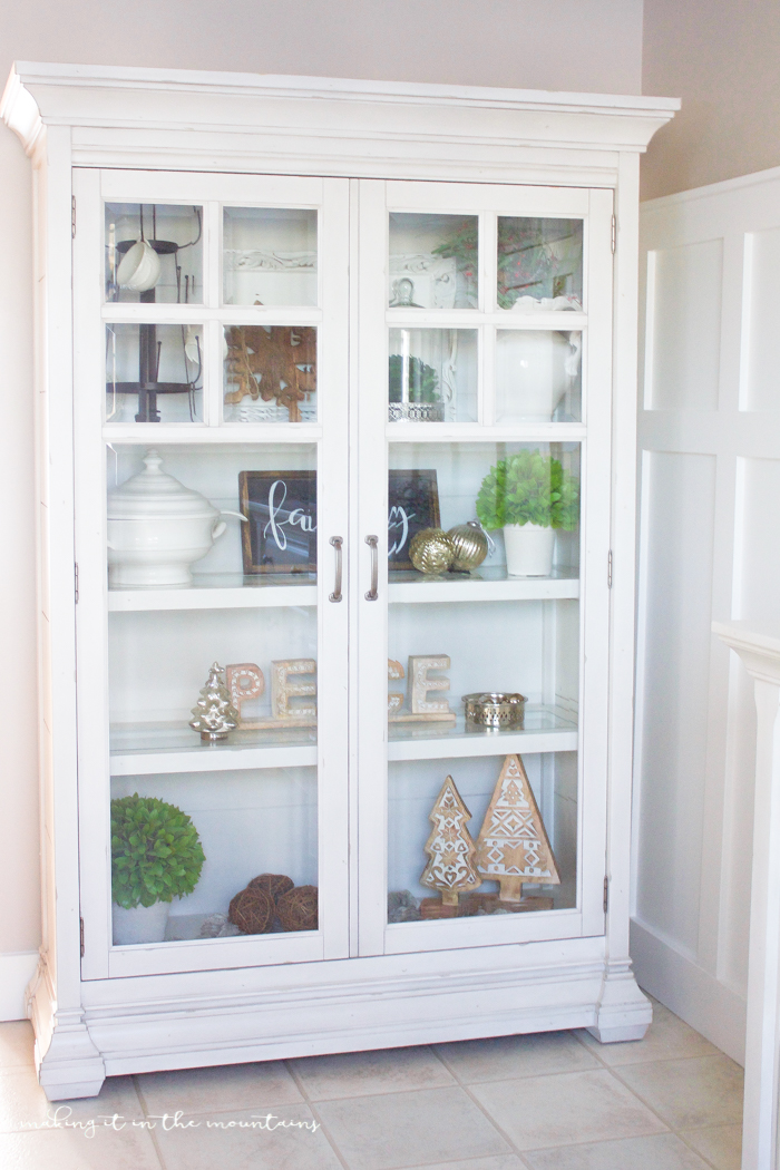 Bring some farmhouse style to your dining space with this gorgeous Christmas curio cabinet. & Farmhouse Style Christmas Curio Cabinet - making it in the mountains