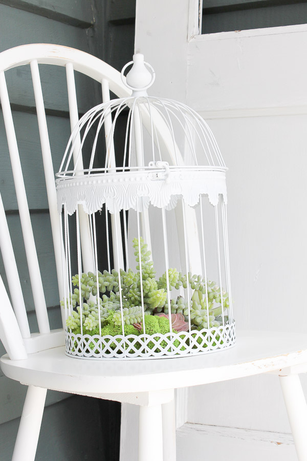 Create this sweet + simple faux succulent bird cage planter in just minutes! | www.makingitinthemountains.com