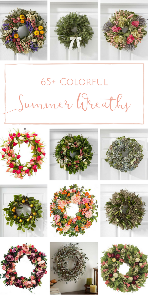 More than 65 beautiful Summer wreaths sure to bring a bit of colour to your front door this Summer! | www.makingitinthemountains.com