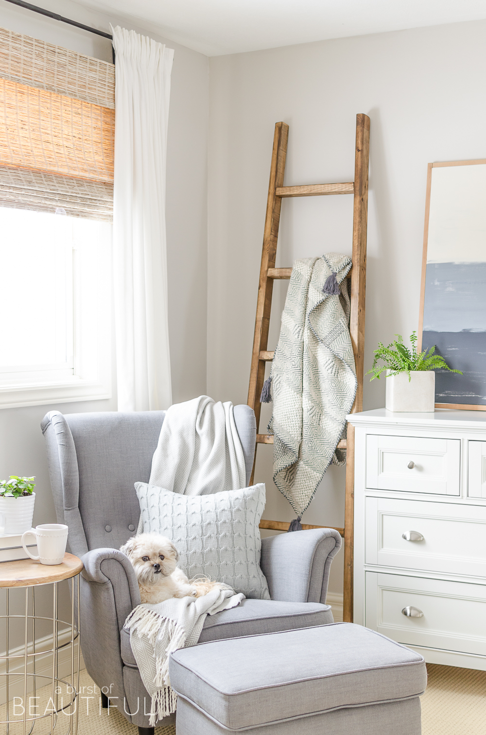 DIY Angled Blanket Ladder