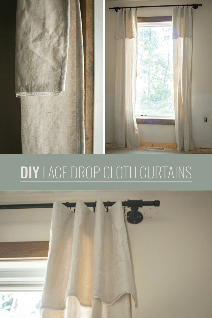 DIY Lace Drop Cloth Curtains