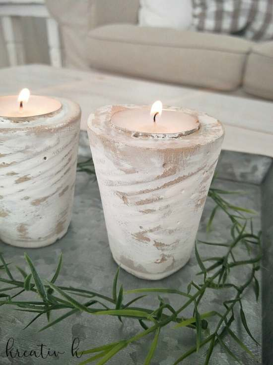 DIY Concrete Whitewashed Candle Holders