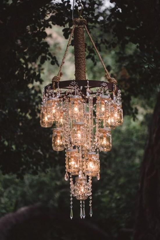 Vintage Rustic Mason Jar Chandelier