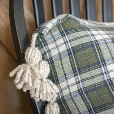 DIY Plaid Tassel Throw Pillow