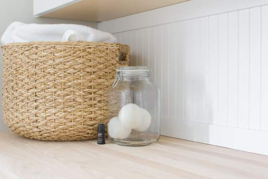 laundry, wool dryer balls, essential oil