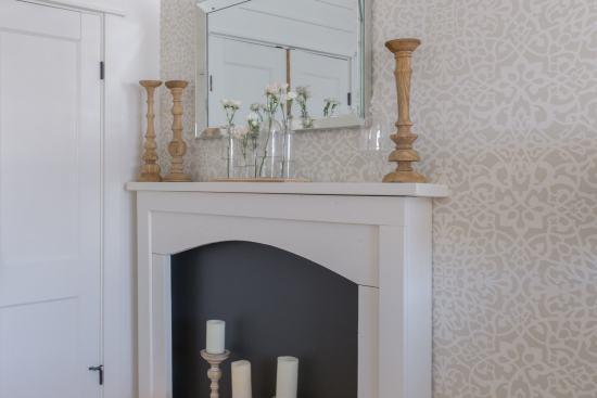 fireplace, flowers