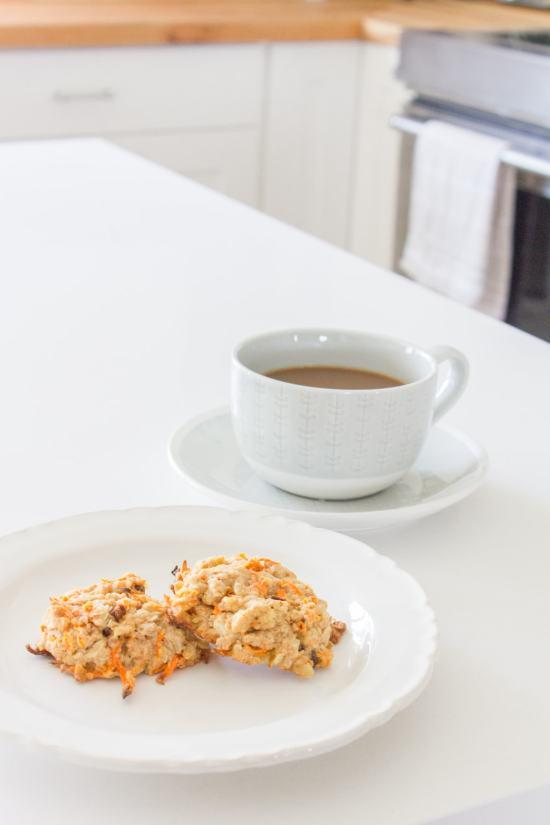 breakfast, carrot cookie, coffee