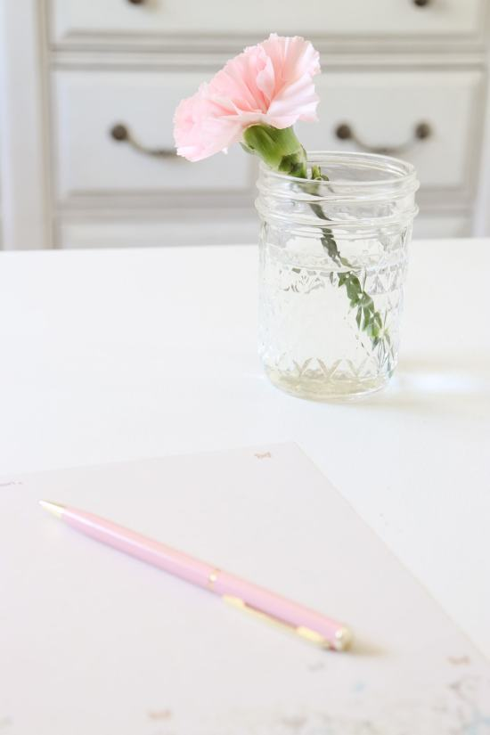 pen, paper, mason jar flower
