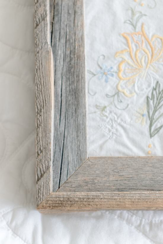 barn wood frame, embroidery, french vintage art