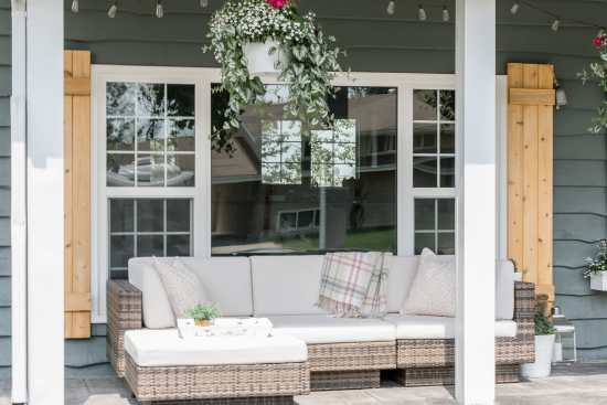 outdoor sofa, hanging basket, porch