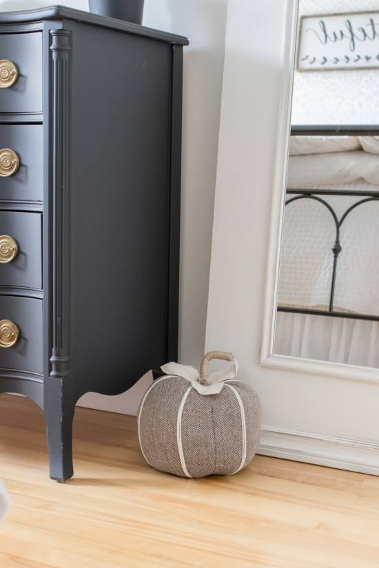 fabric pumpkin, vintage dresser