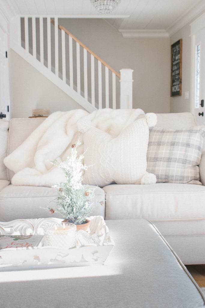 linen sofa, knit pillow, grey plaid pillow, cozy, winter decor