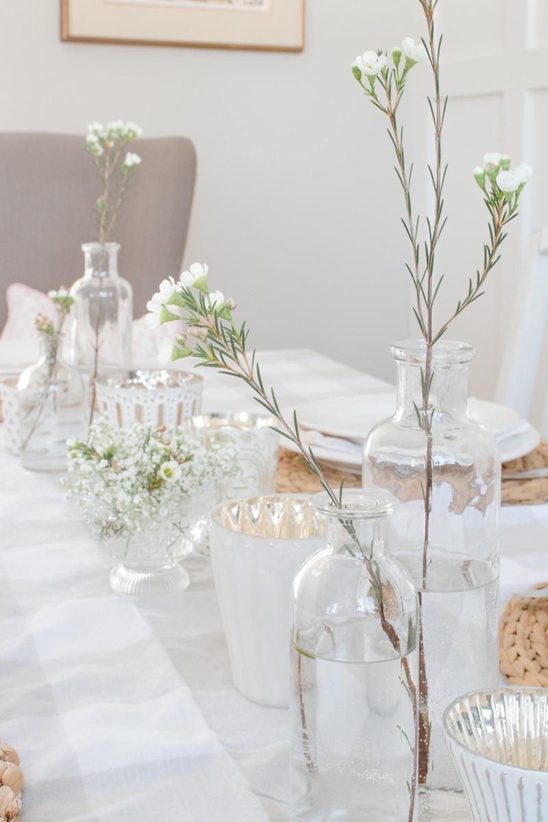spring table, flowers, mercury glass, bottle vases