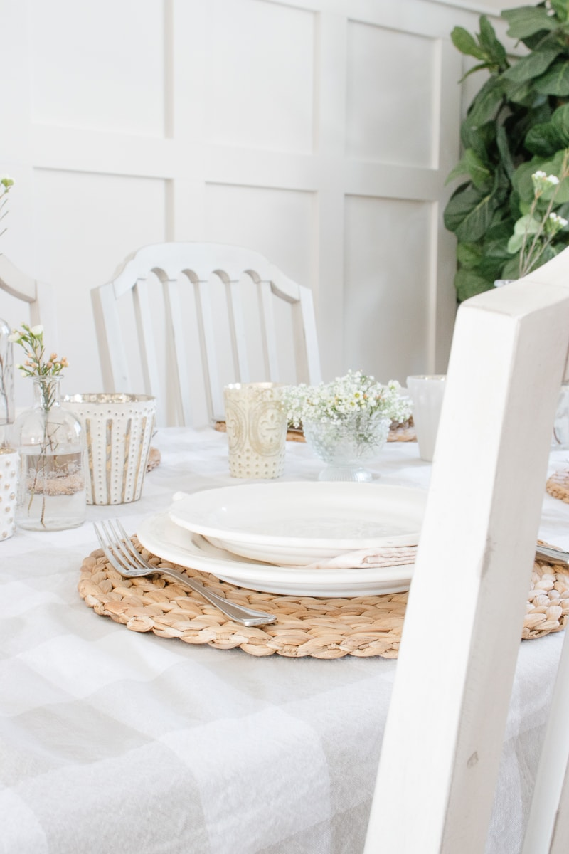 white dishes, spring table, hyacinth placemat