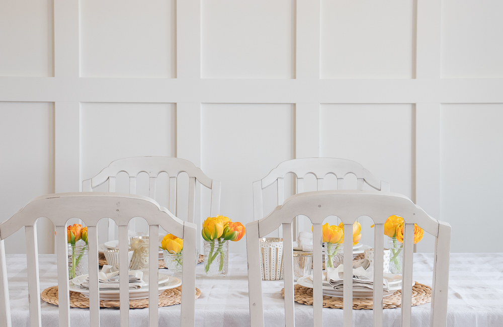 Spring table setting, yellow flowers