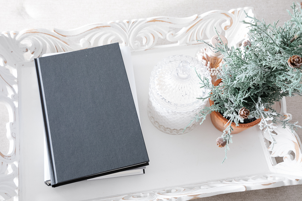 Book, candle, faux plant, tray