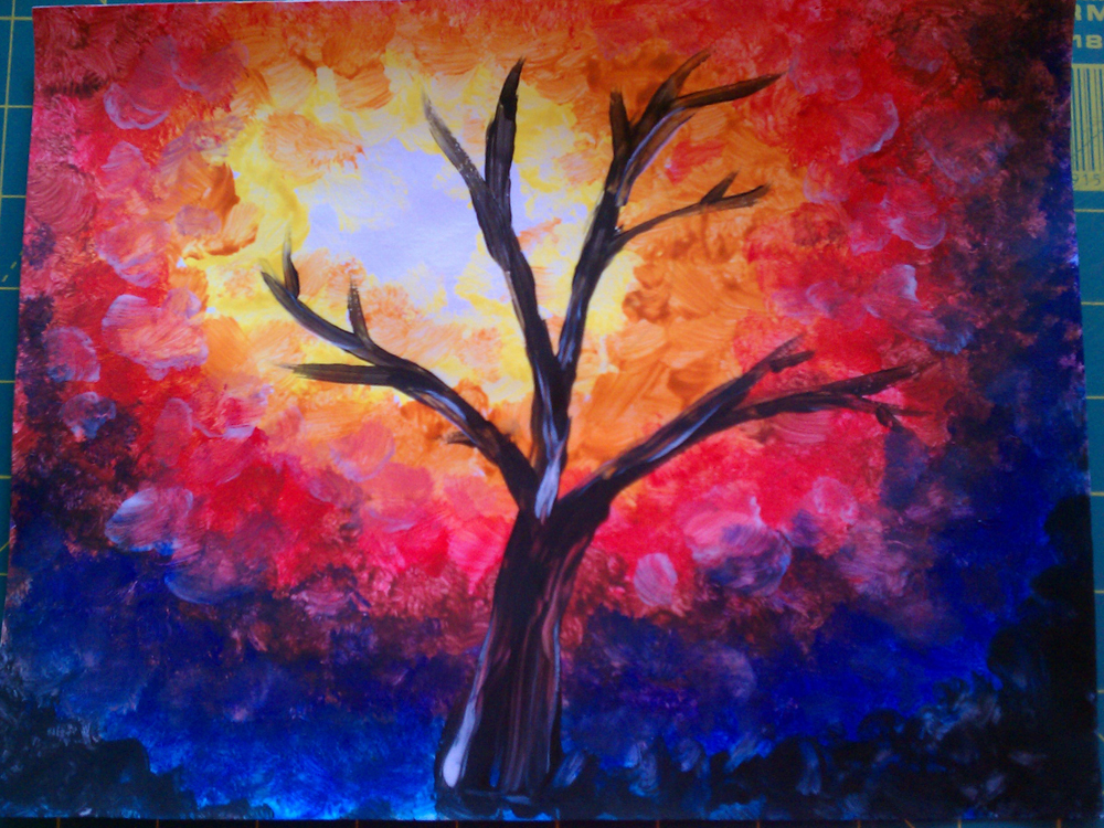 Leese art docent impressionist autumn tree project for Watercolor pictures to paint easy