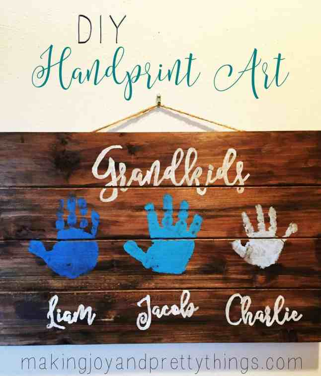 Quick and easy DIY handprint art perfect for grandparents and Mother's Day!