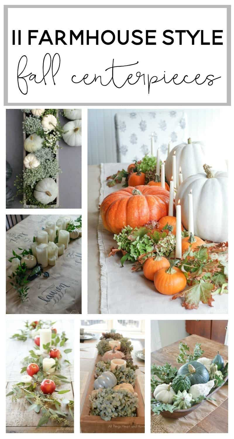 11 Farmhouse Style Fall Centerpieces.  Inspiration for your fixer upper or farmhouse style fall centerpieces or tablsecapes.  Can even be using for Thanksgiving tables capes!