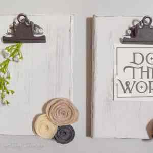 DIY Rustic Clipboards for office or craft organization. Fixer upper and farmhouse style easy DIY!