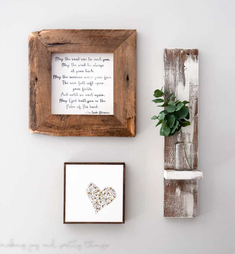 the rustic decorating on living wood wall room shelves tv shelf multifunction reclaimed mount