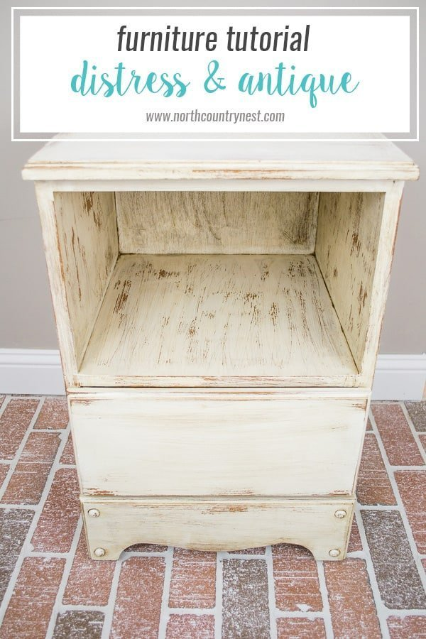 How to distress and antique a side table / furniture paint technique / antique furniture / chalk paint