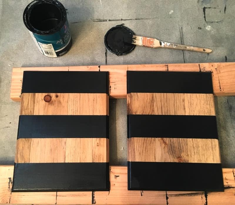DIY farmhouse glam wall planter with thick bold black stripes