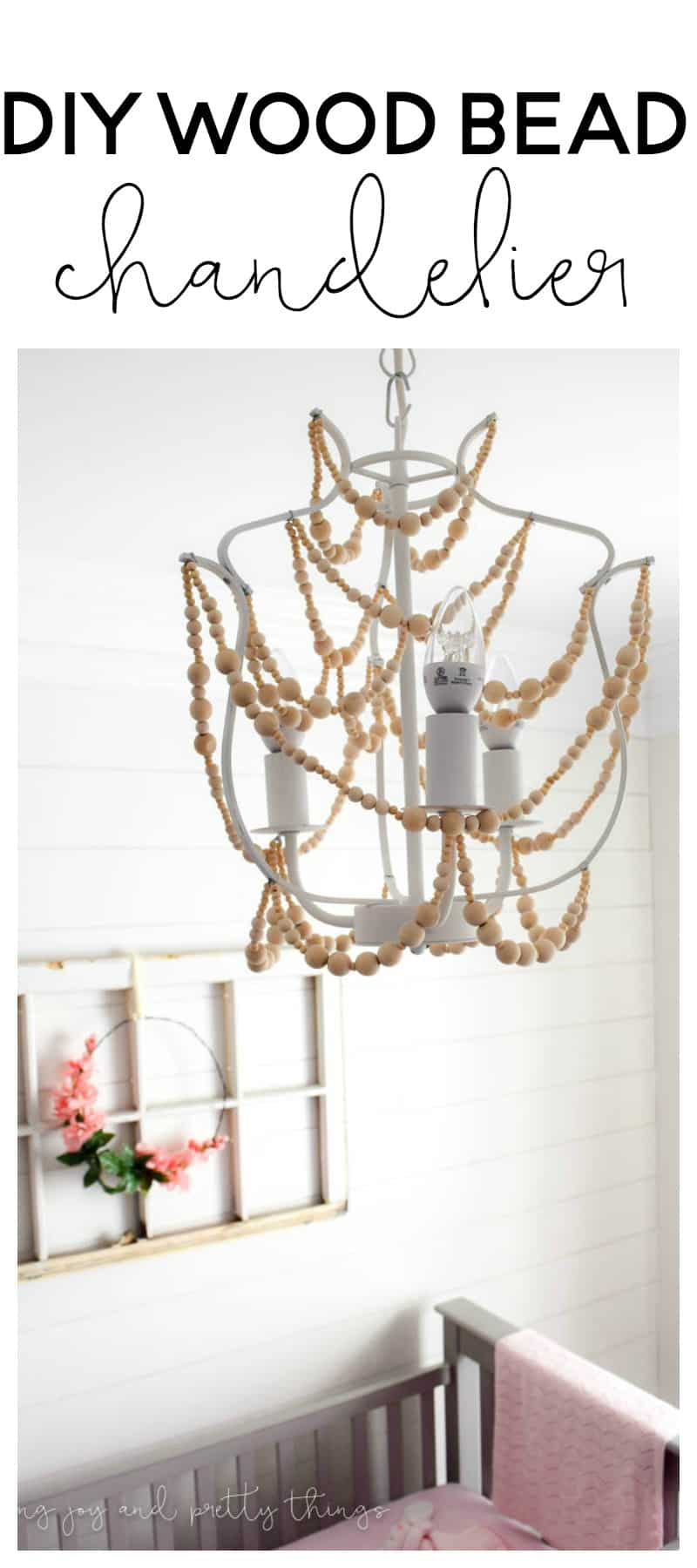 easy diy to make a wood bead chandelier the perfect diy craft to add farmhouse