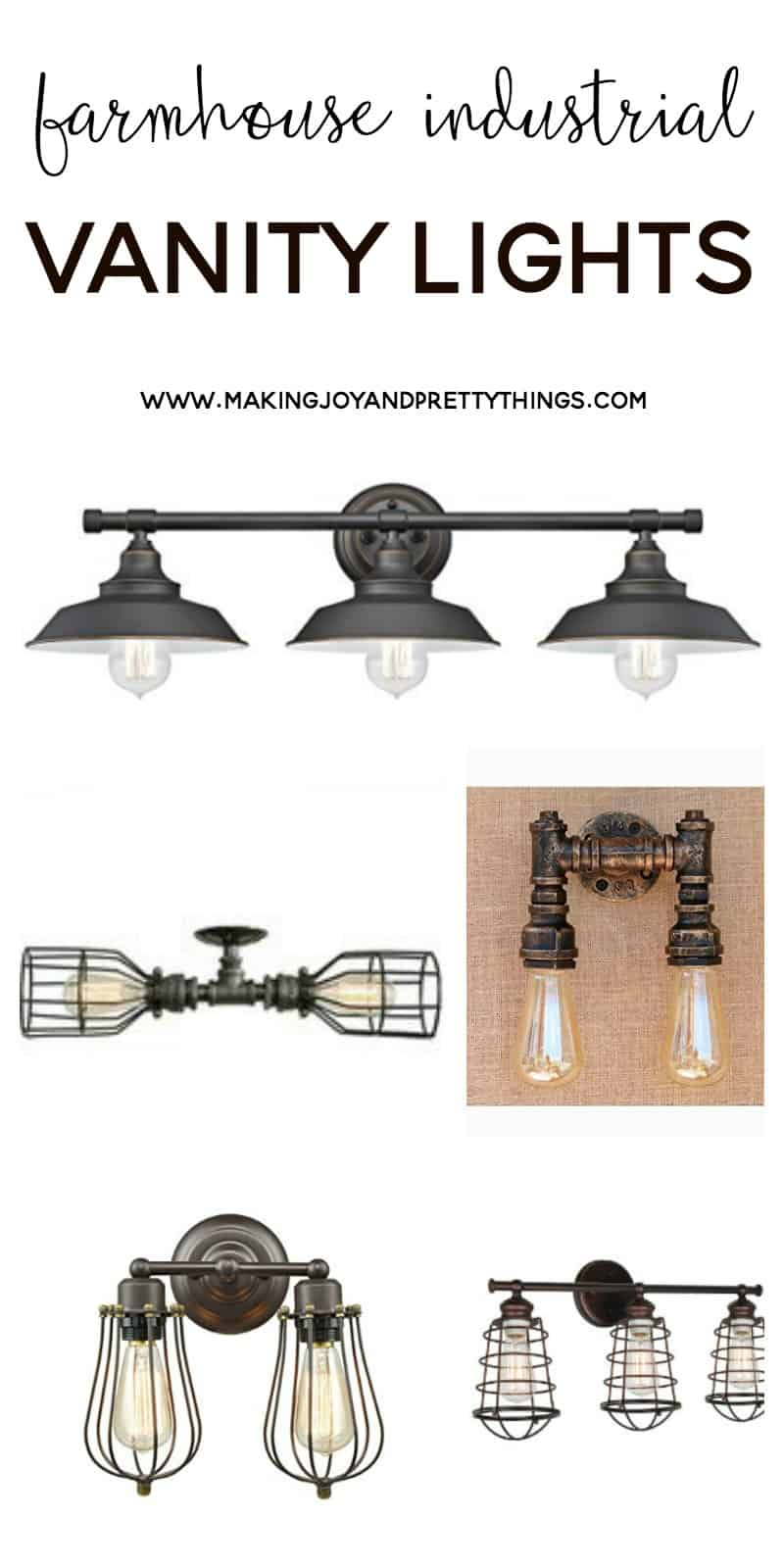 Budget friendly farmhouse industrial vanity lights!!