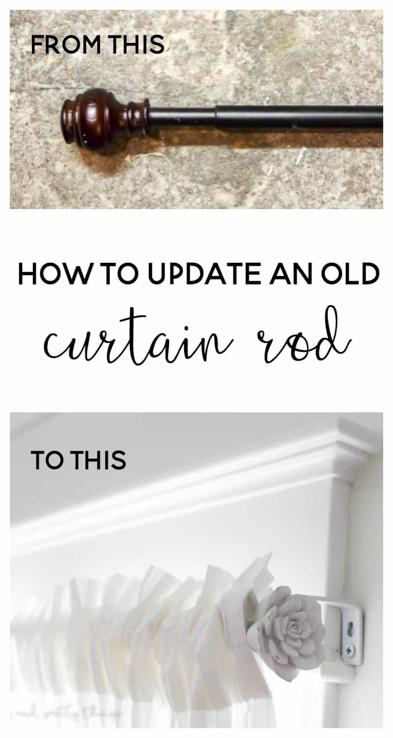 Turn an old curtain rod into a farmhouse style curtain rod. Add some drawer knobs to the ends and you have a budget friendly project!