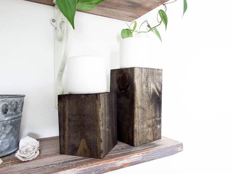 DIY Wood Block Candle Holders