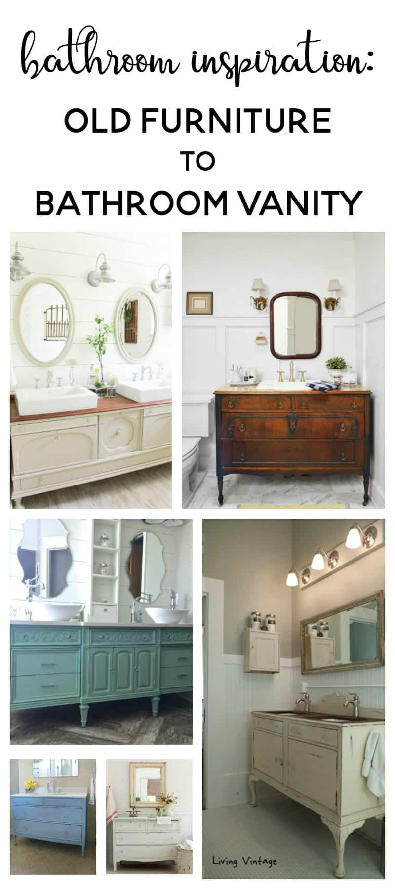 Bathroom Inspiration Using A Dresser As Vanity