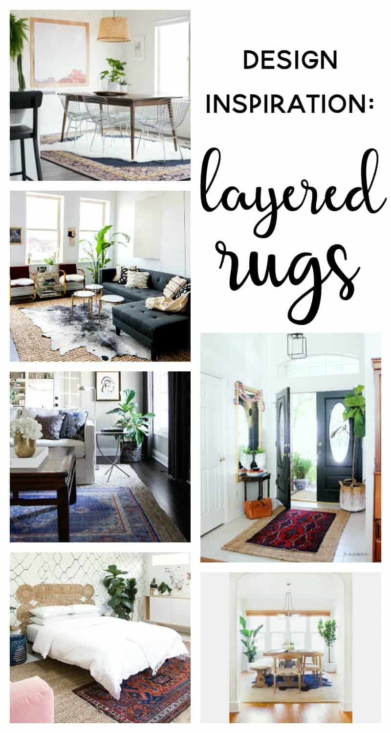 Spotlight on Layered Rugs Design Trend! Tons of design inspiration & examples of how to use layered rugs in any room in your home to add texture and style.
