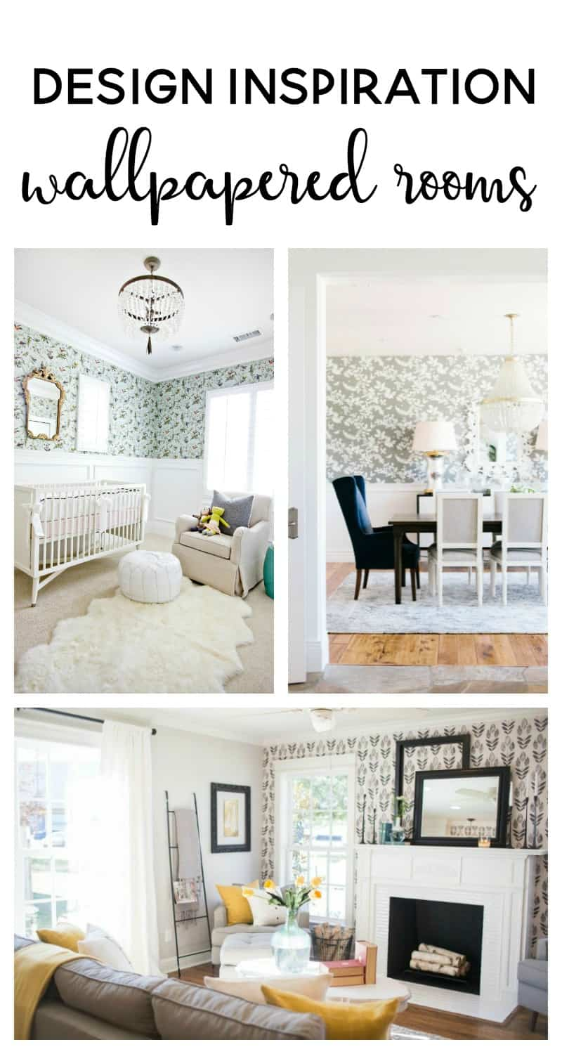 Adding wallpaper to a room or wall is sure to add style to any space.  See some of my favorite rooms with wallpaper for design inspiration and get help finding wallpaper for you!