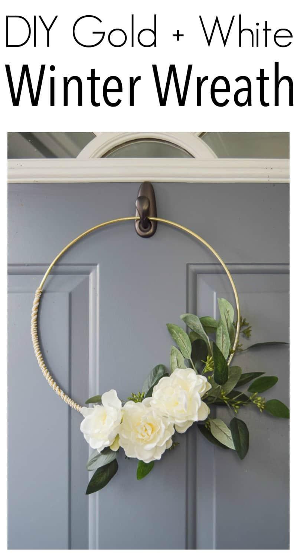 Diy Minimalist Gold And White Winter Wreath