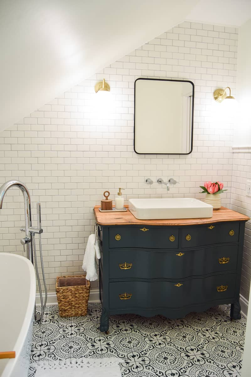 vintage master bathroom reveal