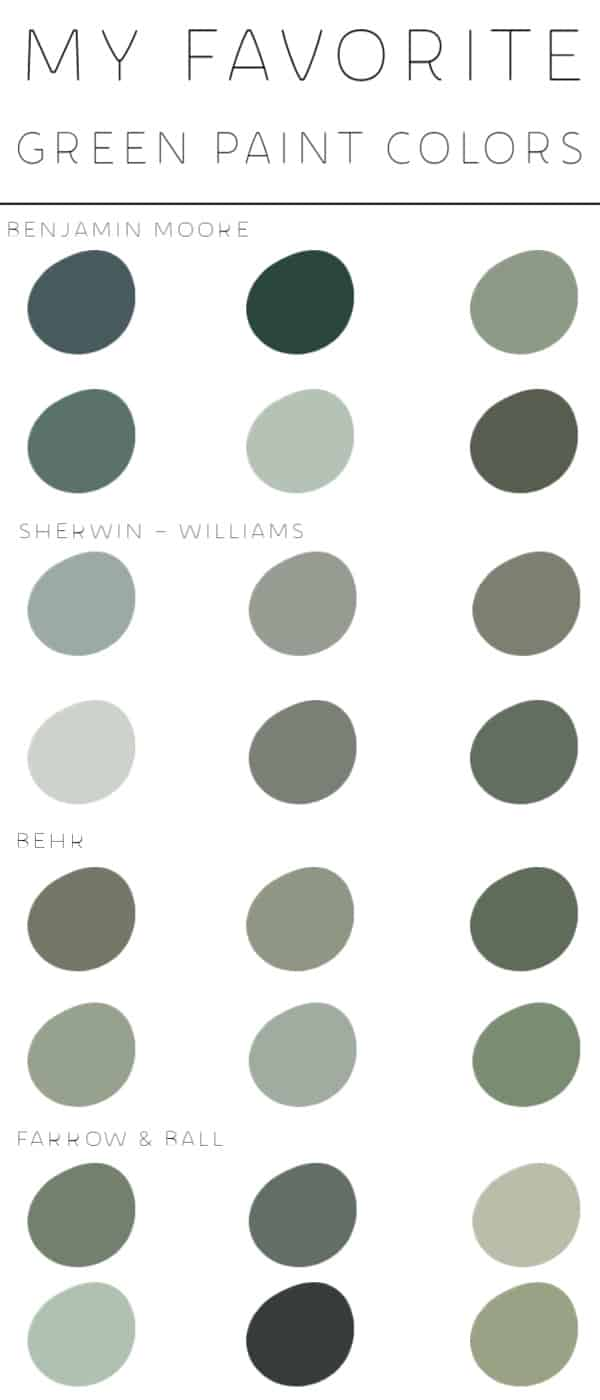 my favorite green paint colors   modern paint colors   most popular green paint colors   paint colors for home   best paint colors   sherwin Williams paint   Benjamin Moore paint   Behr paint   farrow and ball paint   best green paint colors