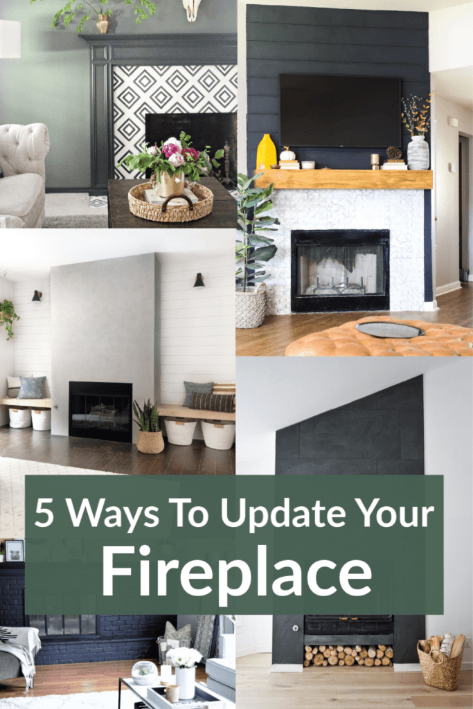 5 ways to update your fireplace. Sharing some DIY fireplace ideas and DIY fireplace projects. Learn how to stencil a fireplace, do a shiplap fireplace DIY, DIY cement fireplace, floor to ceiling tile fireplace, and how to paint a fireplace. #fireplace #diyfireplace #livingroom #diyprojects