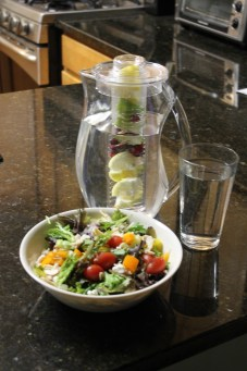 My meal of choice: a great big salad, and citrus infused water.